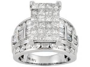 jtv engagement rings 4 00ctw princess cut with and baguette 14k white gold ring