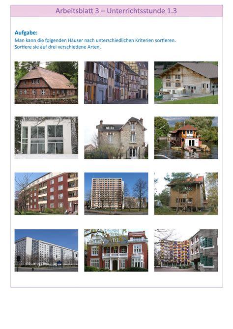 Verschiedene Haustypen Beispiele by Arbeitsbl 228 Tter Zum Projekt Quot Mein Haus Mein Planet Und Ich Quot