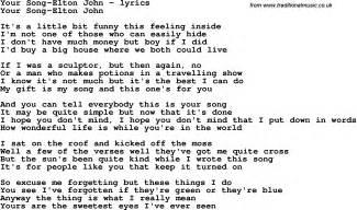 Love Song Lyrics for: Your Song-Elton John