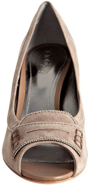 tods taupe suede peep toe penny loafer pumps  beige