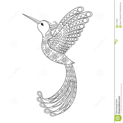 Zentangle Tribal Hummingbird Flying Bird Totem For Adult