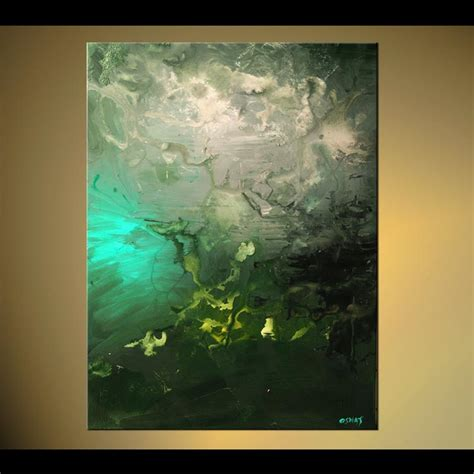 painting vertical abstract green tones home decor 5702