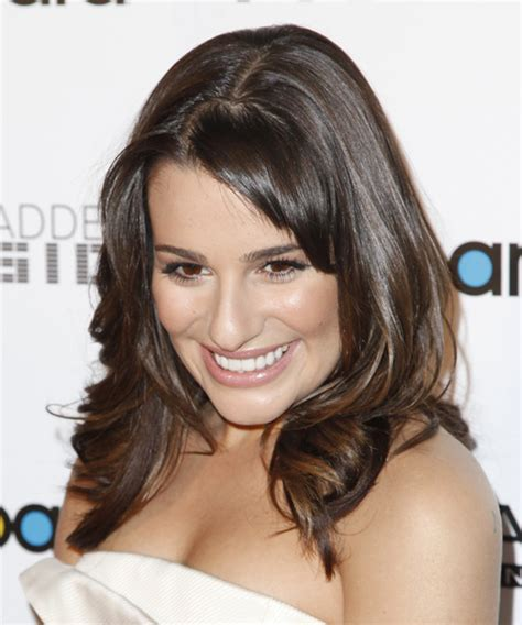 updo hair styles lea michele wavy formal hairstyle with layered bangs 3138