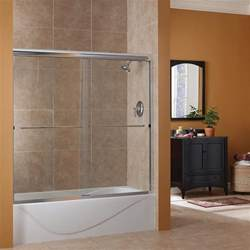 foremost cove 60 in w x 60 in h frameless sliding tub door in rubbed bronze cvst6060 cs or
