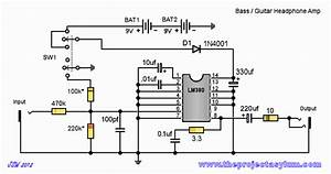 Bass    Guitar Headphone Amp Schematic  Circuit Diagram