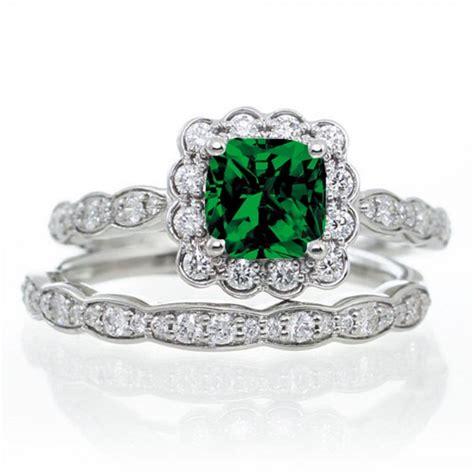 carat princess cut emerald  diamond wedding ring set