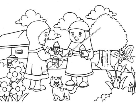 gambar mewarnai anak perempuan sedang memberi es krim