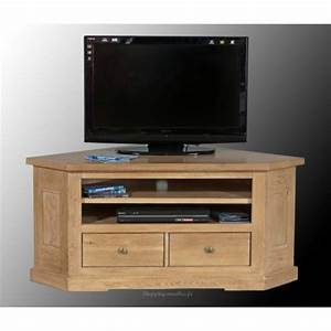 Meuble Tv Chene Massif Moderne : meuble tv d 39 angle ch ne massif collioure ~ Teatrodelosmanantiales.com Idées de Décoration