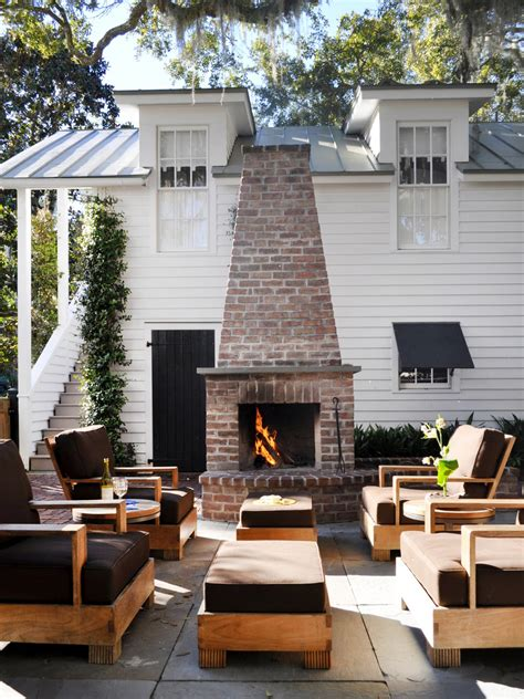 outdoor kitchen and fireplace designs diy outdoor fireplace ideas hgtv 7229