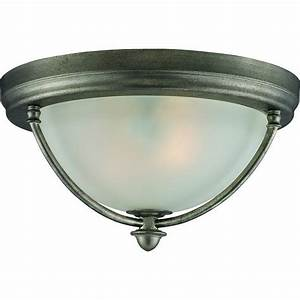 Antique Silver 2 Light Flush Ceiling Fixture 685659013344