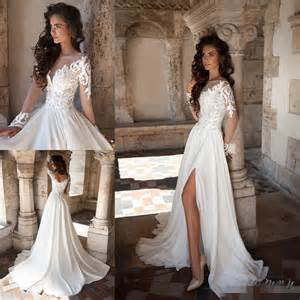 sleeve gown wedding dress 2016 lace wedding dresses sheer neck sleeve side split gowns sweep