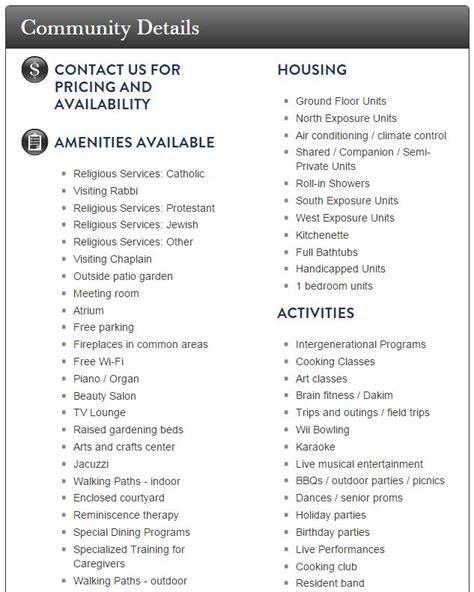 list of amenities list of amenities home design
