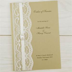 vintage lace order of service pure invitation wedding With lace wedding invitations cheap uk