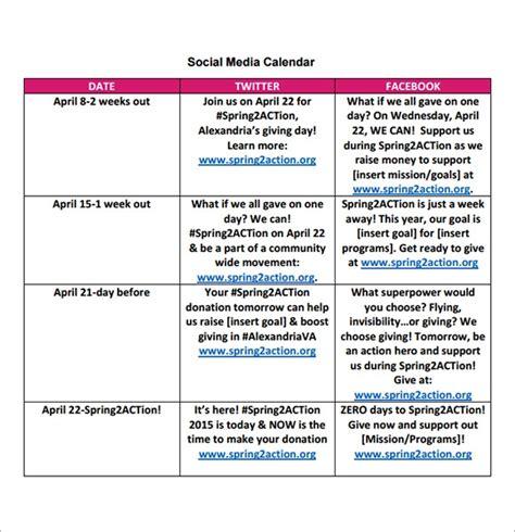 sample social media calendar templates
