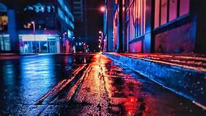 Download, Wallpaper, 3840x2160, Street, Night, Wet, Neon, City, 4k, Uhd, 16, 9, Hd, Background