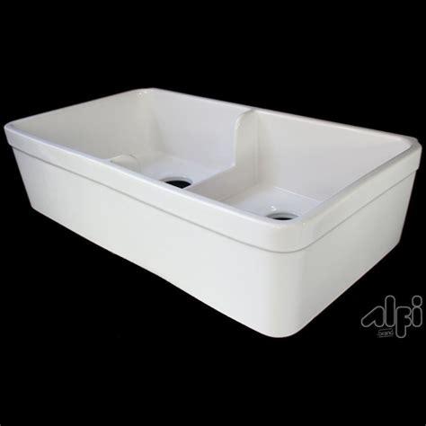 lowes farmhouse sink white shop alfi double basin apron front farmhouse fireclay