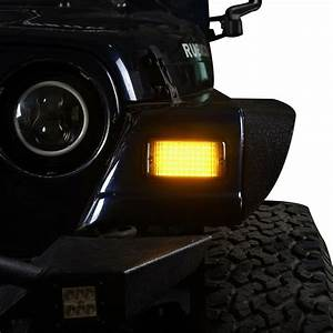 2 X Amber  Smoked Led High Power Turn Signals 12v Fits Jeep