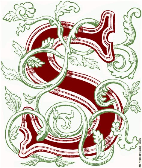 floriated initial capital letter  coloured version