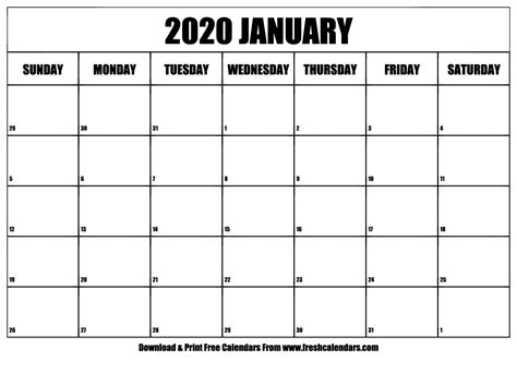january calendar printable fresh calendars