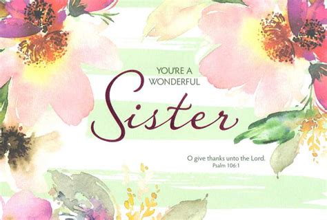 Uplifting verse from the book of psalms reminds them they are blessed. wholesale birthday sister religious greeting card 14419