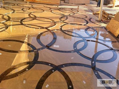 custom marble water jet medallion traditional wall and