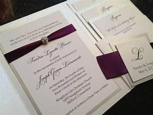 glamourous pocket wedding invitation in eggplant and gold With plum pocketfold wedding invitations