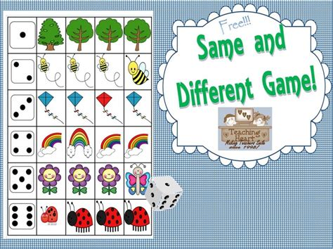 Same And Different Dice Game  Free!  Teaching Heart Blog Teaching Heart Blog