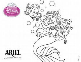 ariel flounder coloring pages download