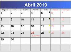 Calendário abril 2019 printable PDF abccalendariopt