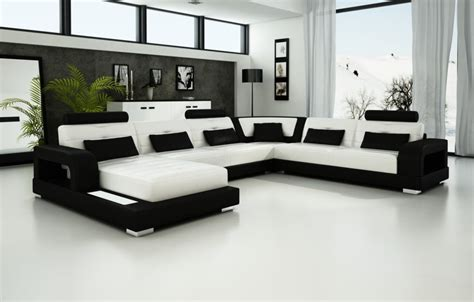 Luxury Black And White Sectional Leather Sofa