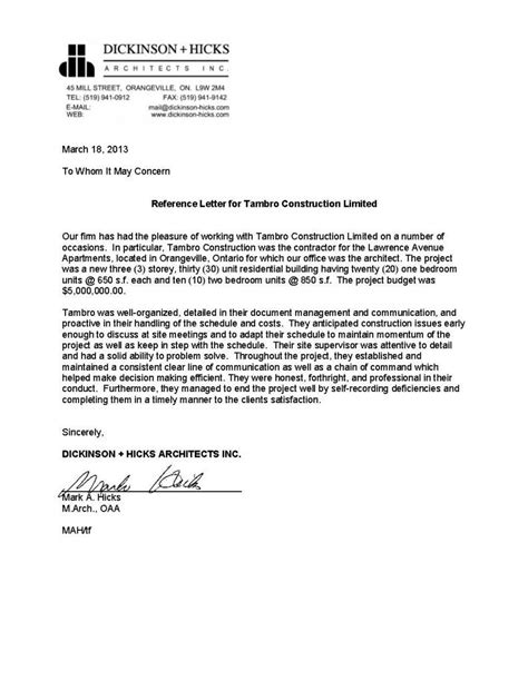 writing a letter of recommendation reference letters tambro construction