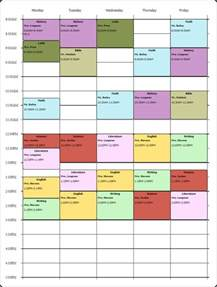College Class Schedule Template Weekly