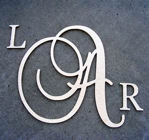 Large script monogram wooden letter with by gallerywoodletters for Large monogram letters