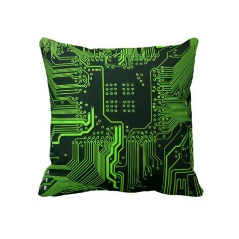 Cool Circuit Board Computer Green Throw Pillow