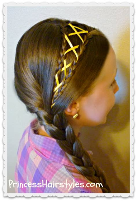 ribbon laced side braid hairstyle hairstyles  girls