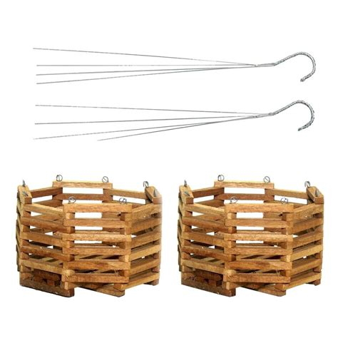home depot hanging ls better gro 10 in wooden octagon hanging baskets 2 pack