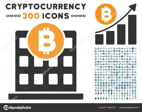 Bitcoin Office Building Flat Icon With Set