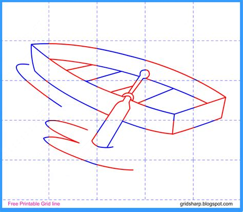How To Draw A Boat Kindergarten by Free Grid Line Printable Boat Grid Line Drawing