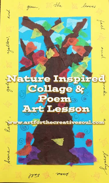 nature inspired collage poem art lesson