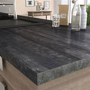 Plan De Travail Stratifi New Vintage Wood Noir Mat L315