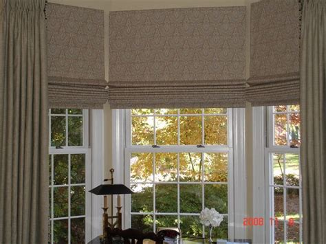 flat roman shades wpanels  bay window bay window