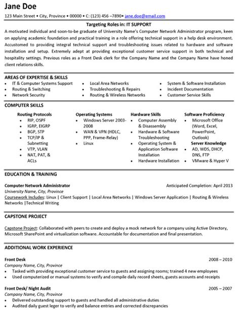 it support resume sle template