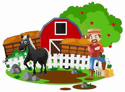 Farm Farmer Horse Vector Farmers Animals Wagon
