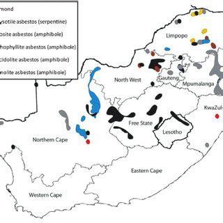 map showing  platinum mines   bushveld complex