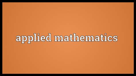 Applied Mathematics Meaning