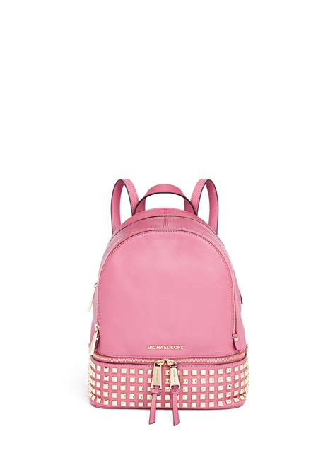 michael kors rhea small stud leather backpack  pink lyst