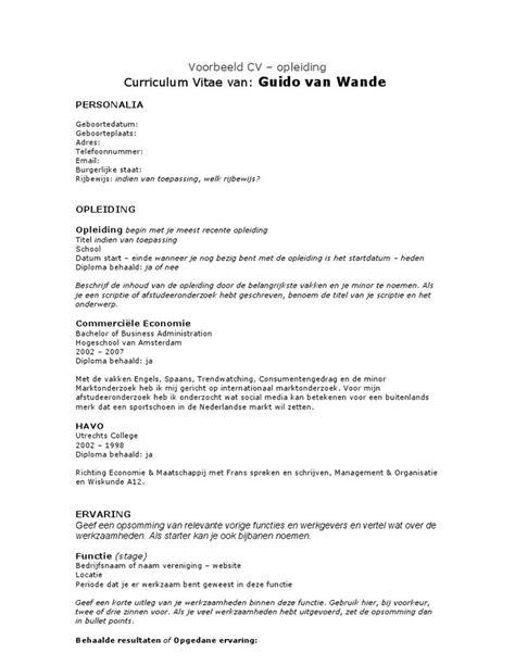 Cv Form Sle For by I M Reading Cv Voorbeeld Opleiding On Scribd Cv
