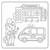 Coloring Hospital Ambulance Doctor Outline Vector sketch template