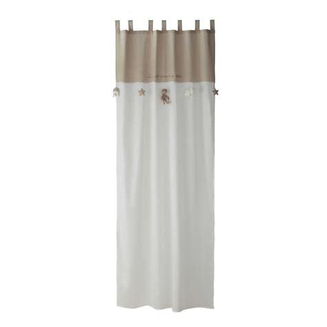 rideau chambre ado rideau à passants en coton blanc beige 110 x 250 cm ourson