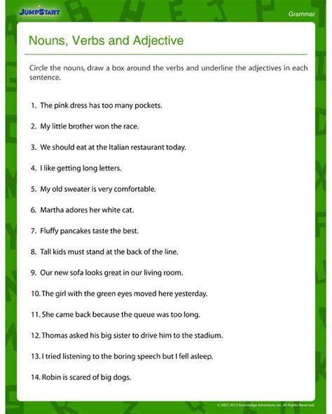 printable adjective worksheets   grade
